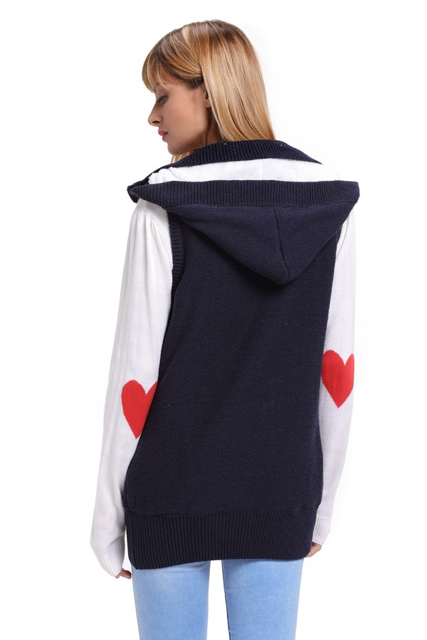 Cable Knit Hooded Sweater Vest Womens Autumn Winter Fall