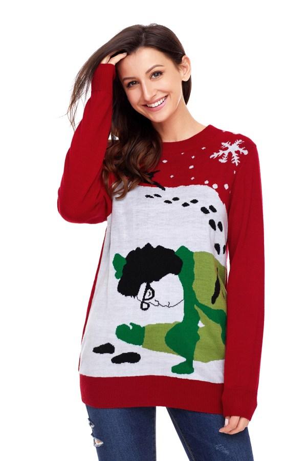 Green Run Over Reindeer Christmas Sweater Womens