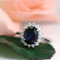 Deep Blue Sapphire CZ Kate Middleton's Engagement Ring ...