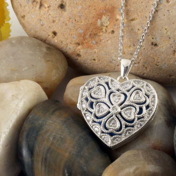 Heart Shaped Sterling Silver Lucky Clover Locket