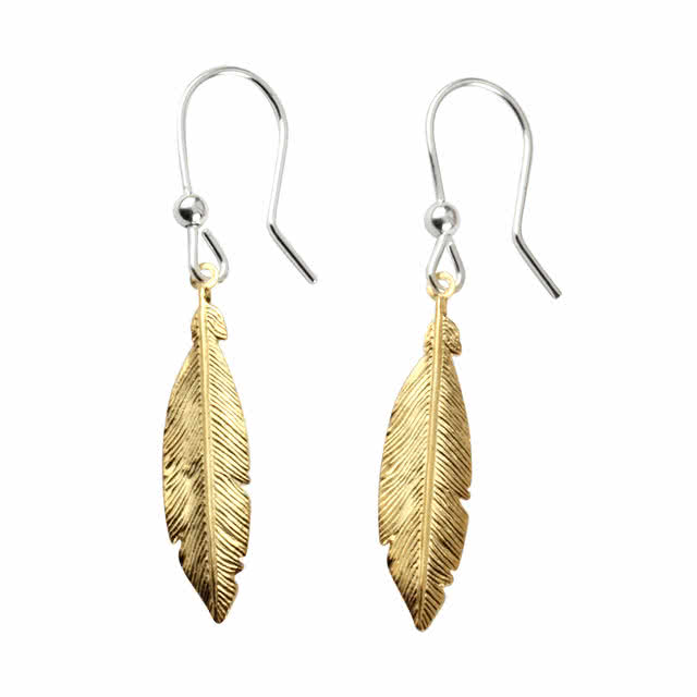 Gold Plated Sterling Silver Feather Earrings With Hook