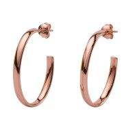 Rose Gold Plated Sterling Silver Oval Drop Earrings