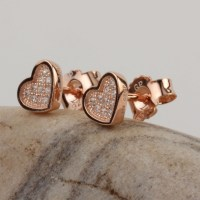 Small Heart Shaped Sterling Silver Rose Gold Plated Studs ...