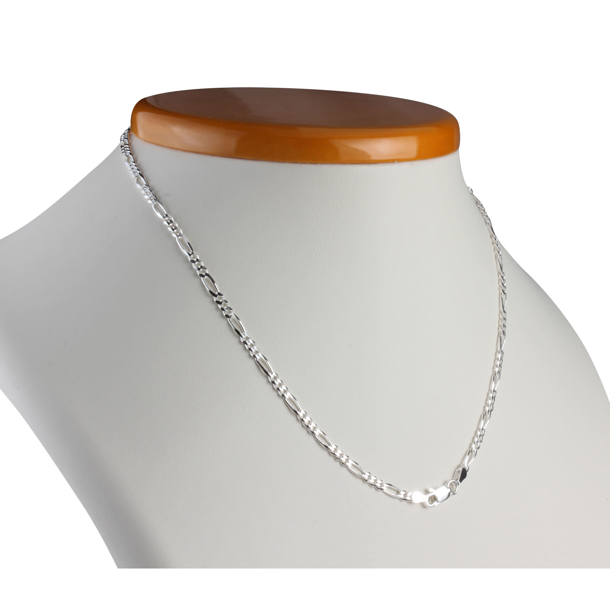 Solid Sterling Silver 280mm Diamond Cut Figaro Chain