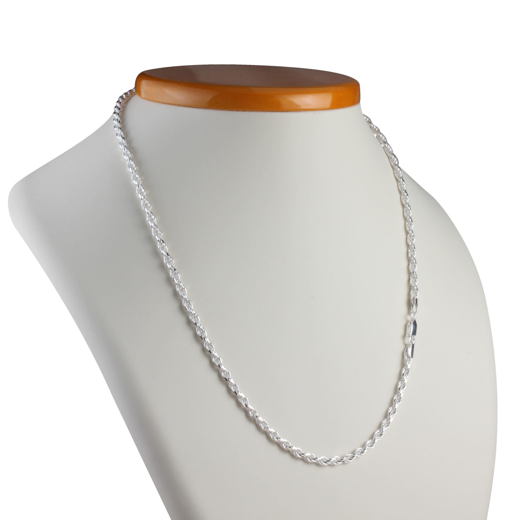 33mm Unisex Diamond Cut Sterling Silver Rope Chain