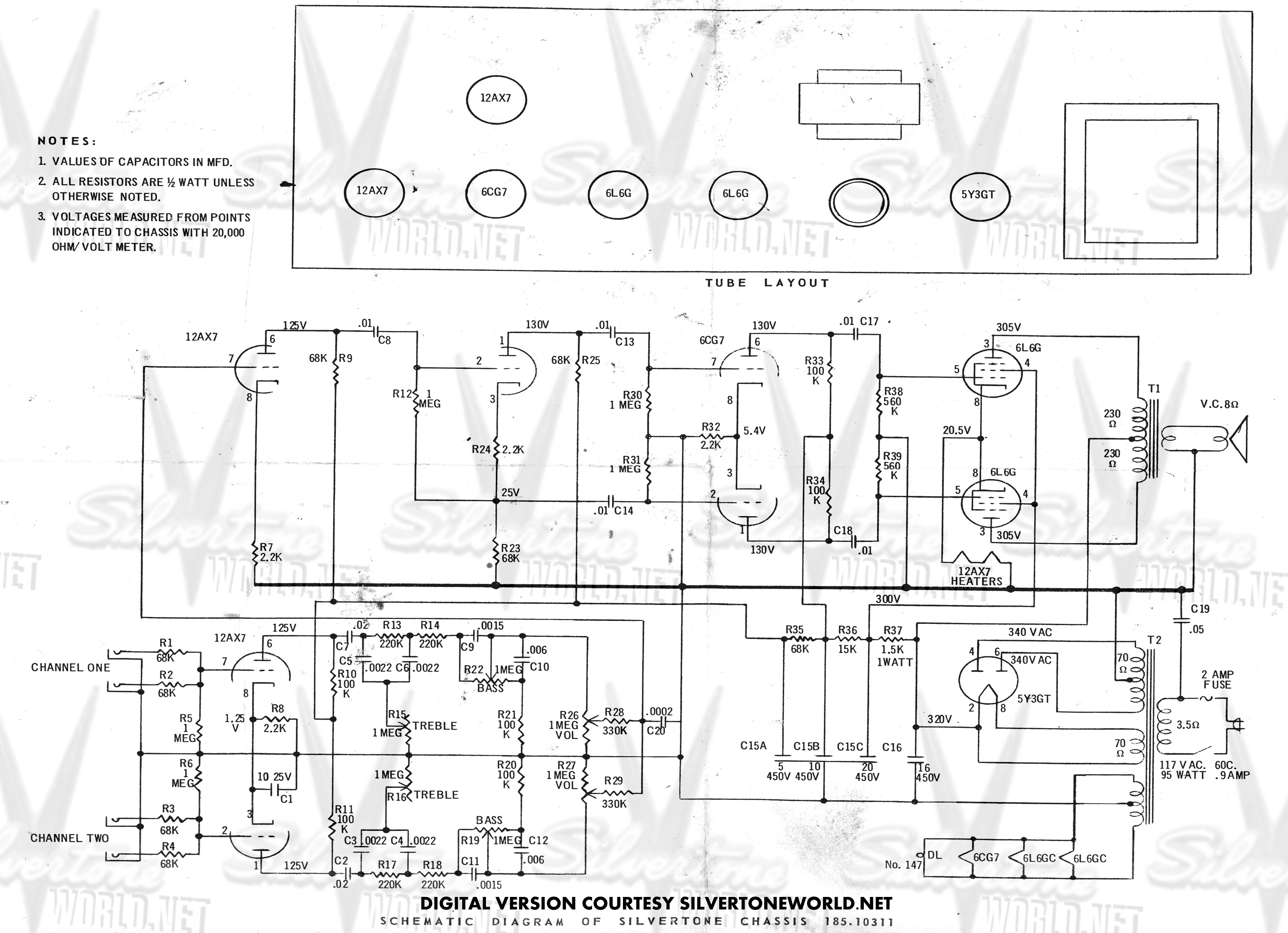 silvertone amplifier schematics