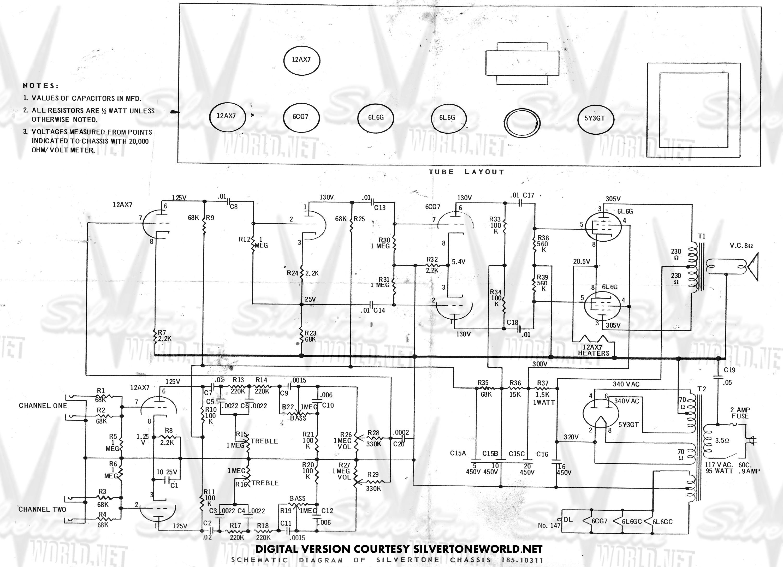 silvertone guitar amp schematics