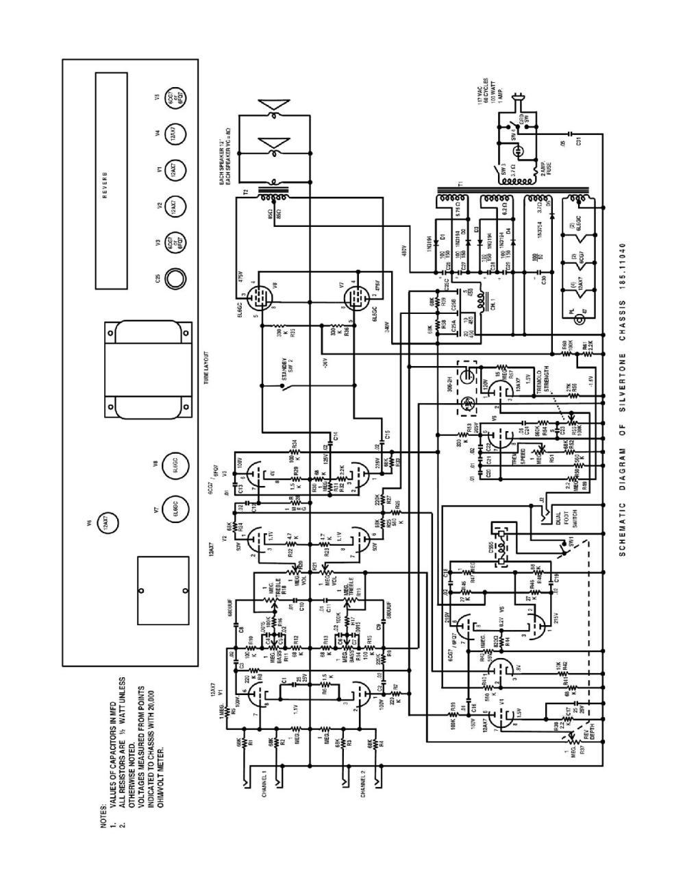 medium resolution of silvertone world amplifiers 1960s model 1484 schematic silvertone 1448 wiring diagram silvertone wiring diagram