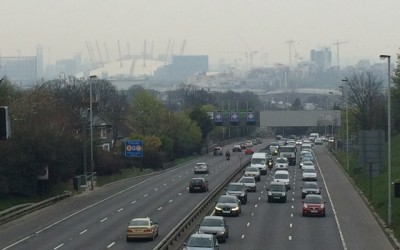 Smog and traffic which can only get heavier: Charlton Road, 5pm on 2 April