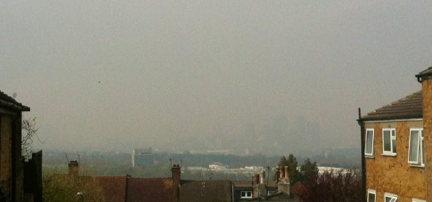 The Isle of Dogs from Shooters Hill, taken at 1pm on Wednesday 2 April