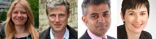 London's mayoral candidates include Sian Berry (Green), Zac Goldsmith (Conservative), Sadiq Khan (Labour) and Caroline Pidgeon (Liberal Democrat)