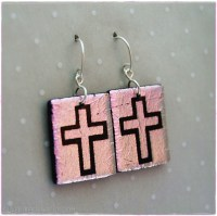 104-6171: Etched Light Pink Cross Earrings