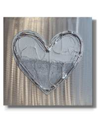 Love Heart Snow White - Silver Wall Art, Contemporary Art UK