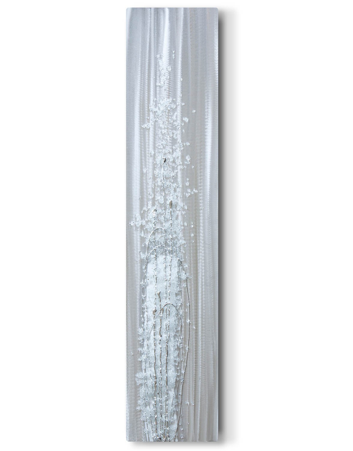White Tall Crystal Cluster Silver Wall Art Contemporary Art UK
