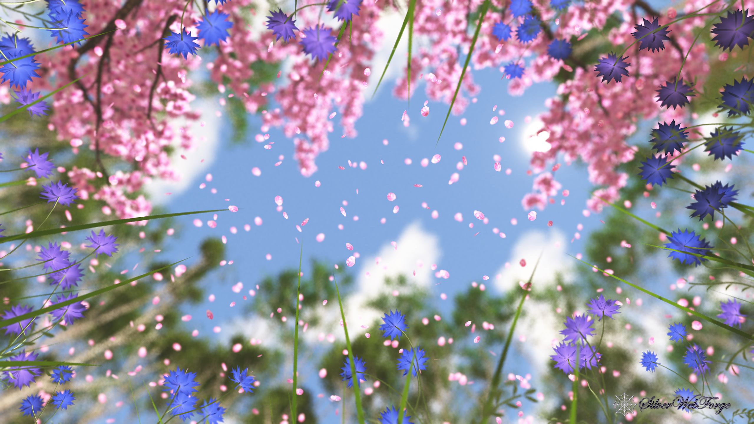 Falling Cherry Blossoms Wallpaper April Showers Silverwebforge
