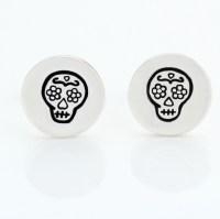 Sterling Silver Sugar Skull Stud Earrings   Buy online ...