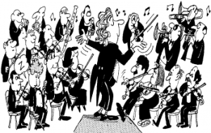 Cartoon image of an orchestra