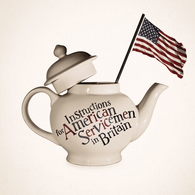 """A picture of an english teapot with an american flag and the text """"Instructions for American Servicement in Britain"""""""