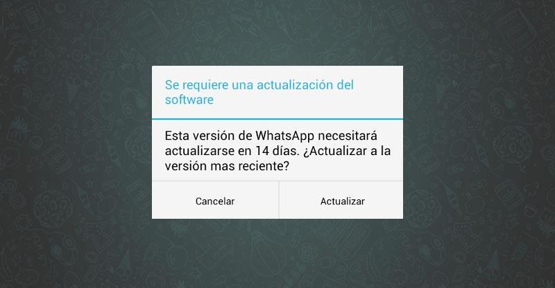 WhatsApp se actualizará en 14 días. ¿A ti también te ha aparecido este mensaje?