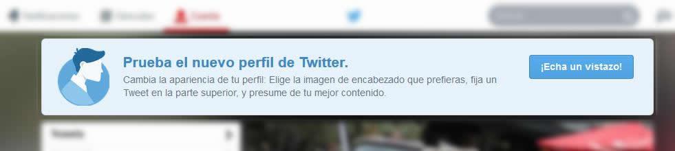 Este banner os invitará a activar el nuevo diseño de Twitter