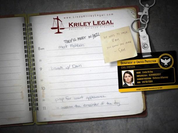 Interior de la agenda de Linda Kriley