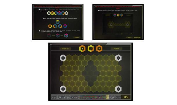 Instrucciones para resolver el puzle, y un ejemplo de uno de sus niveles