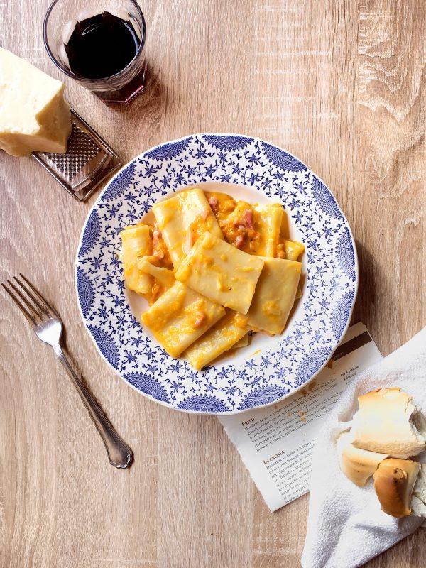 La pasta con pancetta, zucca e taleggio.