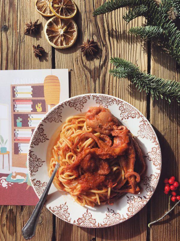 Spaghetti con i moscardini, per darmi la carica.