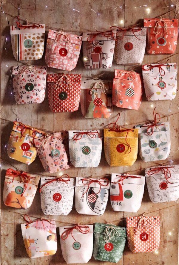 Calendario dell'avvento con sacchetti di carta fai da te