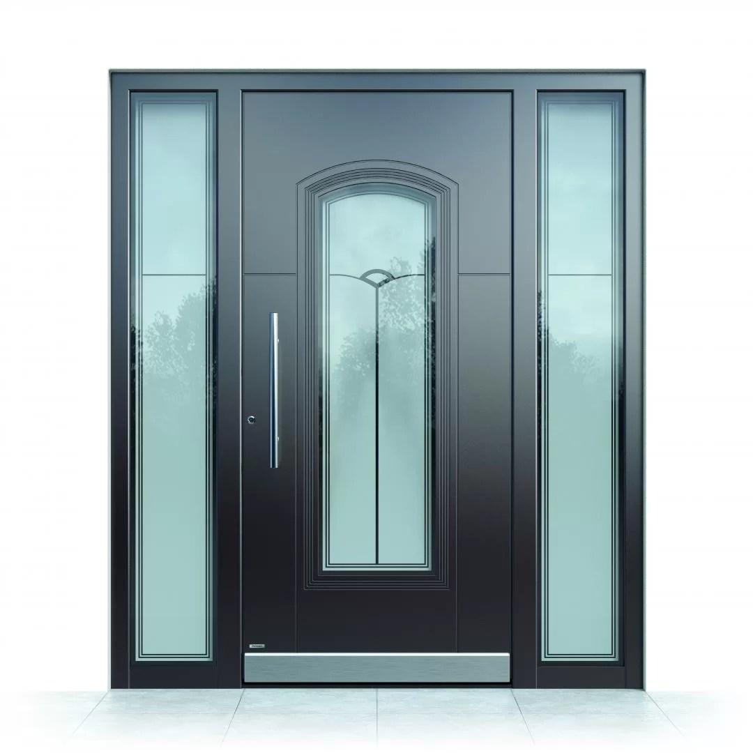 Ușă intrare aluminiu Pirnar Optimum CarbonCore 7370 sticlă motive sablate laminată securizată