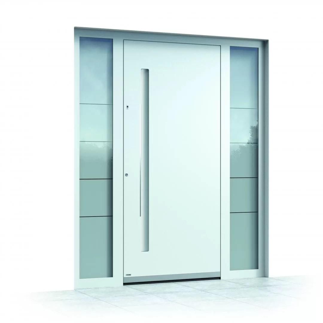 Ușă exterior aluminiu Pirnar Optimum CarbonCore 7500 albă mâner cu iluminare lux