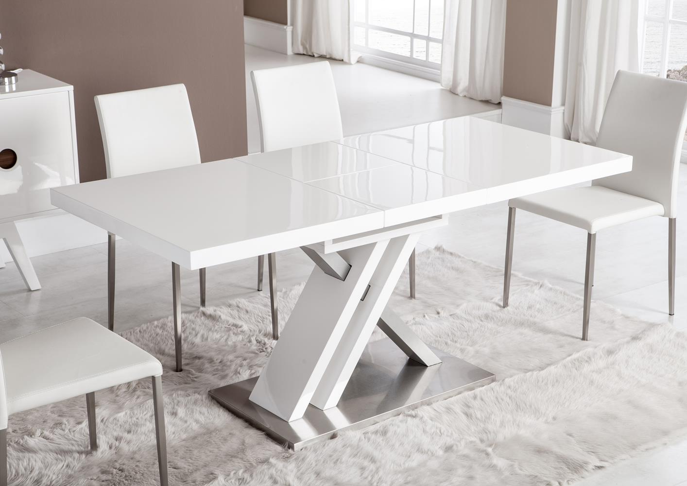 table moderne pied central croix laquee blanche
