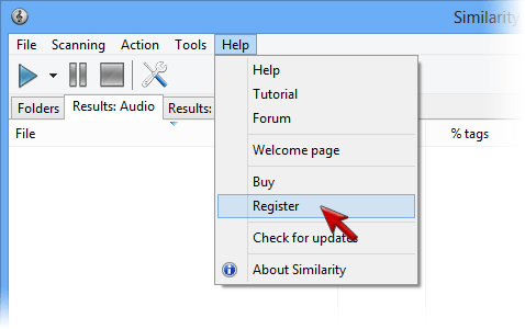 Screenshot: Registration menu