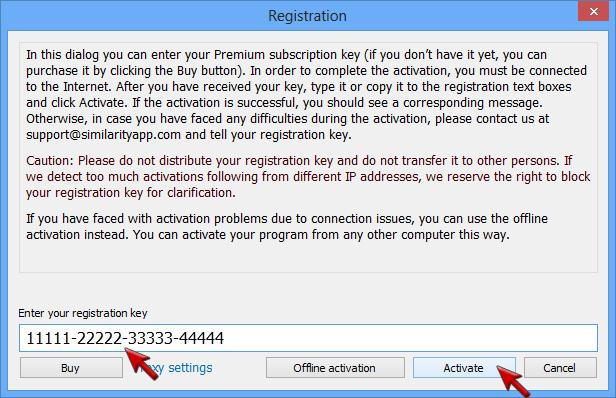 Screenshot: Similarity registration