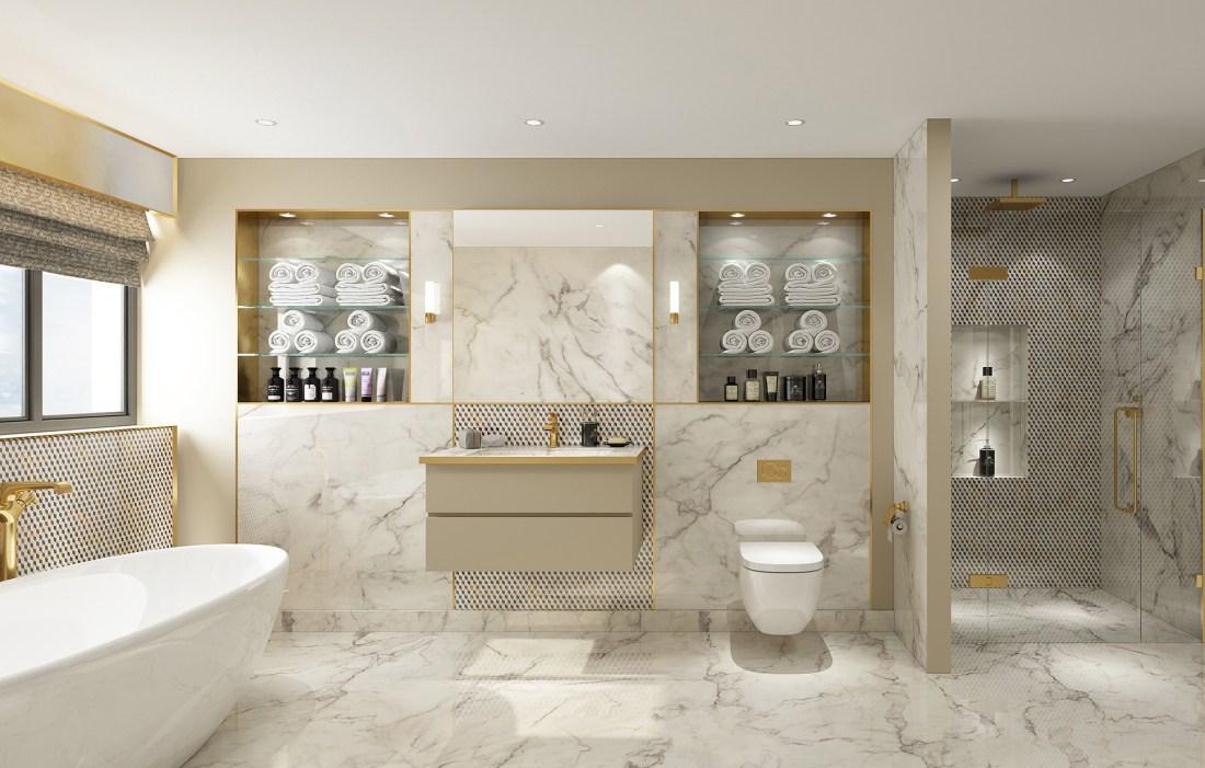 3D Golden Cube Bathroom