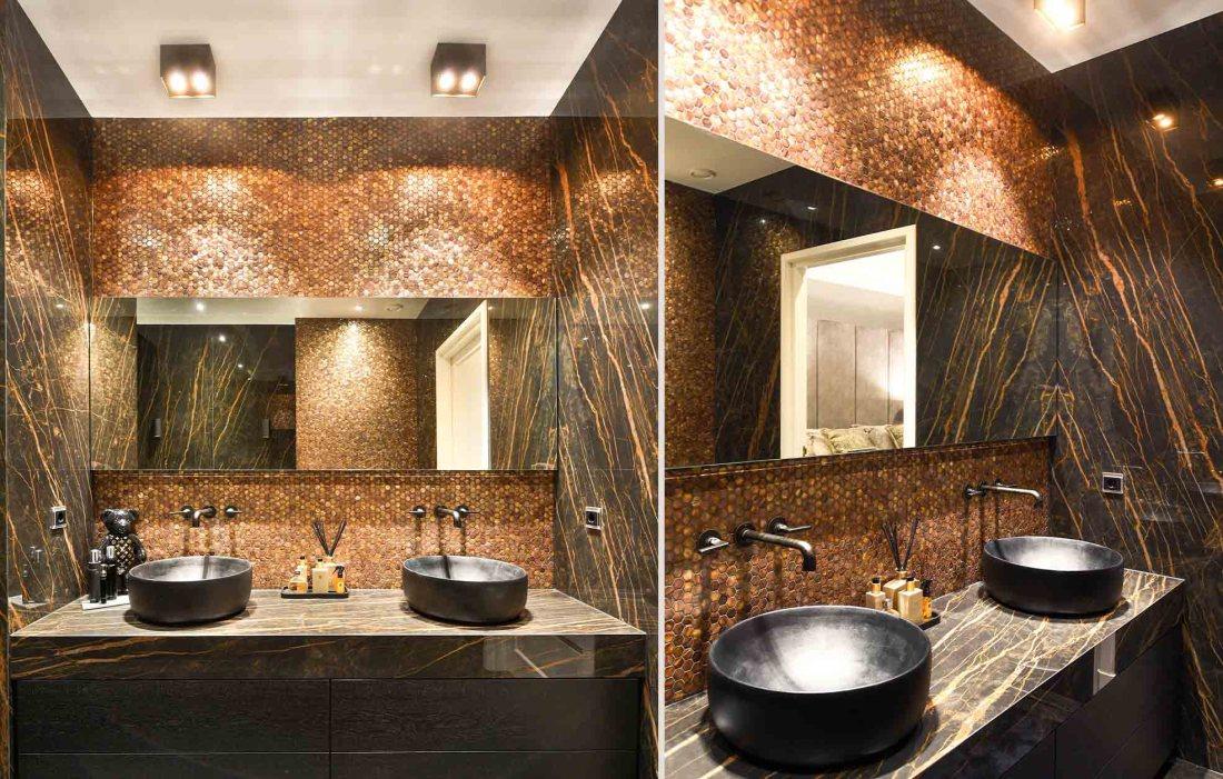 Gentle earth Hexagons in masculine bathroom