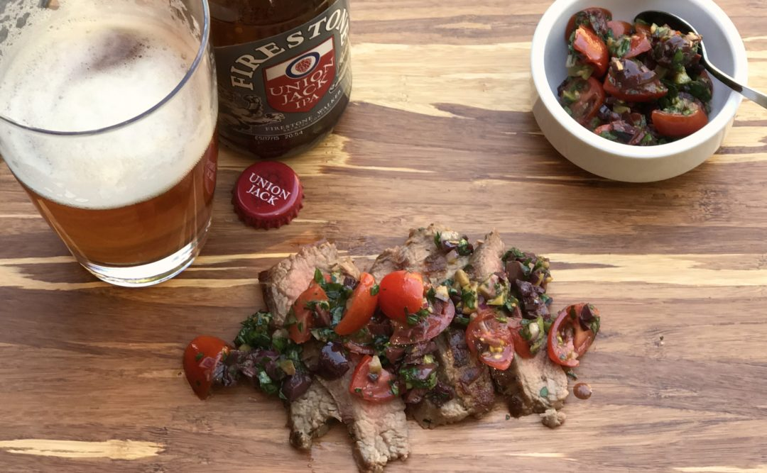 Herb-Crusted Flank Steak with Tomato-Olive Relish