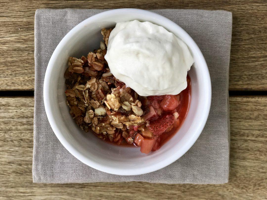 A Strawberry Rhubarb Muesli Crisp Perfect For Summer