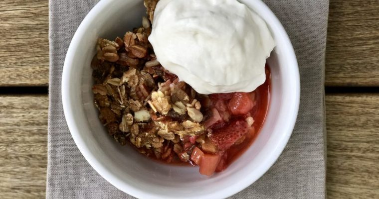 A Strawberry Rhubarb Muesli Crisp Perfect For Summer