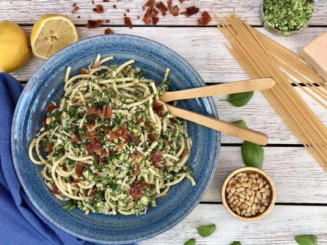 Bucatini Pasta With Shredded Broccoli, Crispy Bacon And Lemon