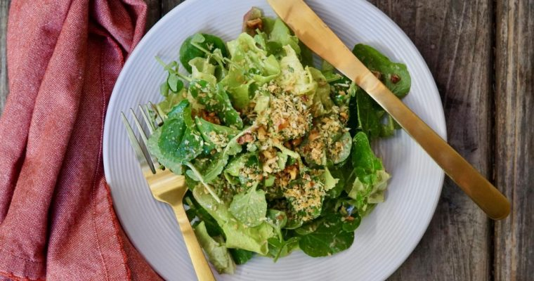 Butter Lettuce And Watercress Salad With Creamy Walnut Dressing
