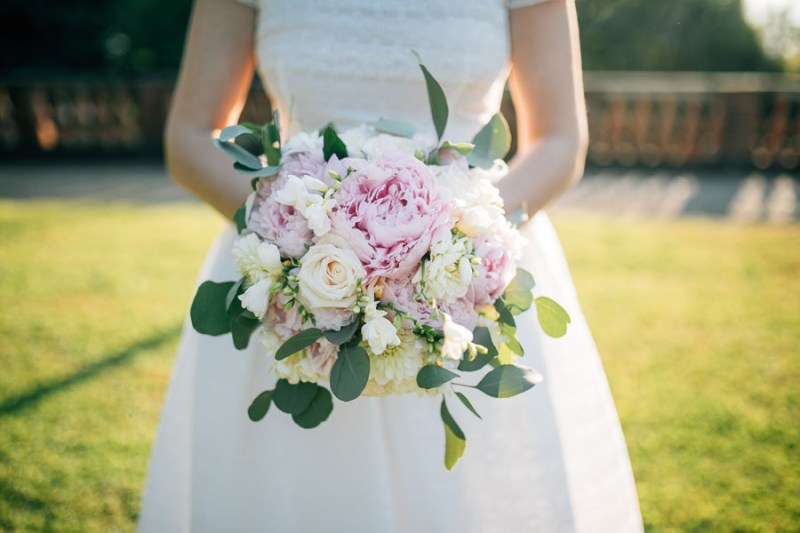 bouquet romantico peonie cipria rose