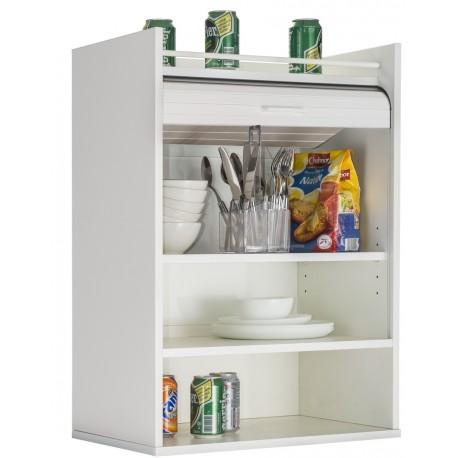 meuble de cuisine blanc 1 rideau 3 niches