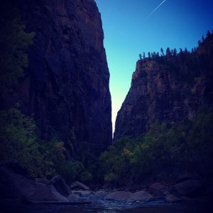 Early morning at the Narrows in Zion National Park.
