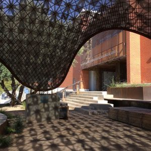 The Sonoran Pentapus, a new structure outside the College of Architecture, Planning, and Landscape Architecture at UA.