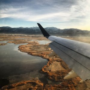 Flying into Salt Lake City over the Great Salt Lake.