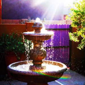Fountain and early morning light in Civano, Tucson, Arizona.