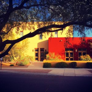 A favorite view of the Civano neighborhood center, with that wonderful mesquite.