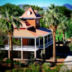 Old Main, tilt shift mode, at the University of Arizona.