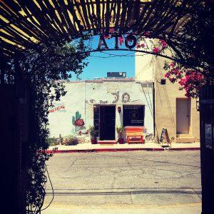 View through a portico at Tucson's Old Town Artisans.